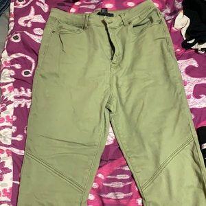 Green stretchy denim jeans